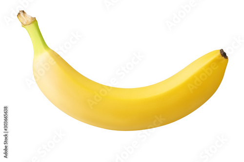 Fotografía one banana isolated on white background with clipping path