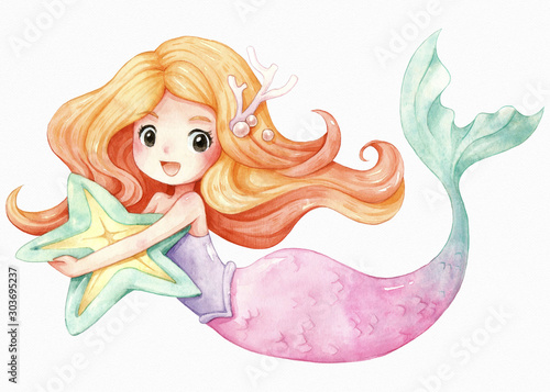 Photo Little Mermaid character cartoon watercolor illustration, Orange hair, Pink green tail, She hugged a starfish pillow, isolated on white texture watercolor paper