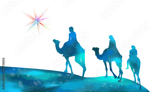 Fényképezés Christmas star camels with the Magi. Vector