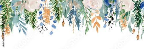 Floral winter seamless border illustration. Christmas Decoration Print Design Template