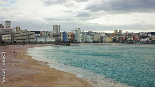 Coastline with cloudy sky in the sunny day