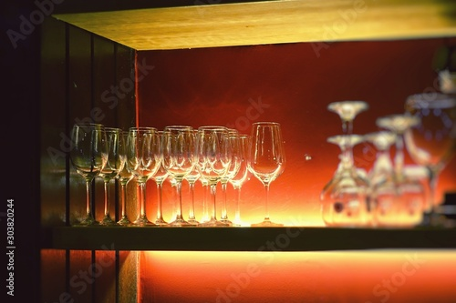 Bar counter with clean beer glasses in the popular tapas bar in A Coruna, Galicia, Spain