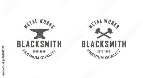 Canvas Print Color illustration a set of blacksmith logos on a white background