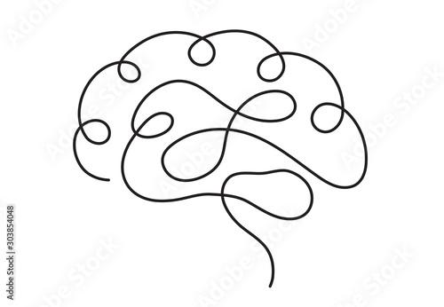 Foto One line brain design silhouette