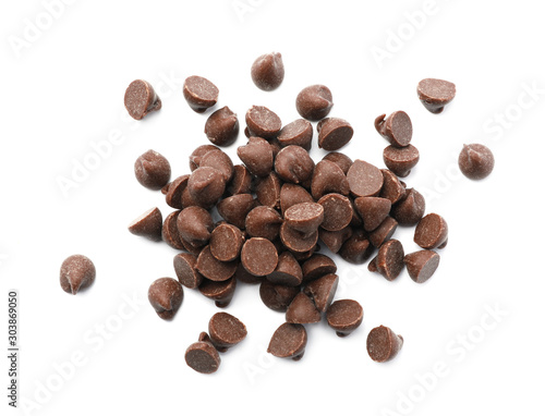 Obraz na plátně Pile of delicious chocolate chips isolated on white, top view