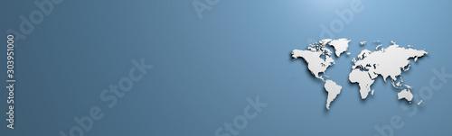 World map on blue background banner #303951000
