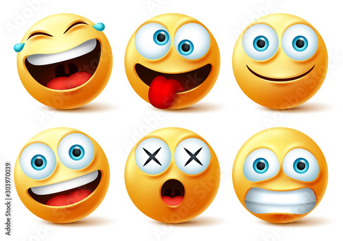 Emoji and emoticon faces vector set. Emojis or emoticons with crazy, surprise, funny, laughing, and scary expressions for design elements isolated in white background. Vector illustration.