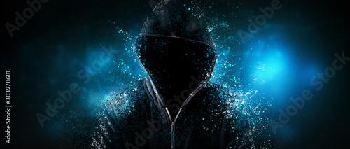 Fotografija Cybersecurity, computer hacker with hoodie