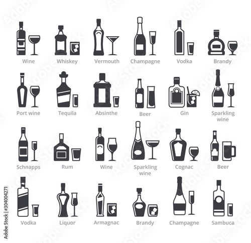 Obraz na płótnie Alcohol bottles black glyph vector icons collection
