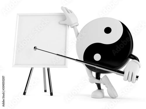 Canvas Print Jing Jang character with blank whiteboard