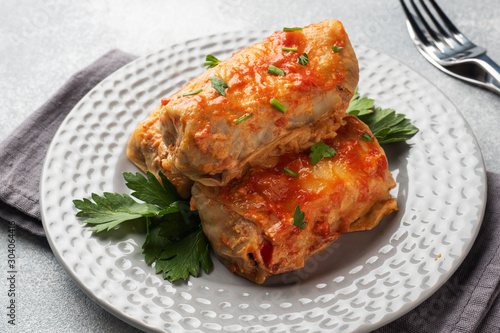 Cuadros en Lienzo Cabbage rolls with beef, rice and vegetables on the plate