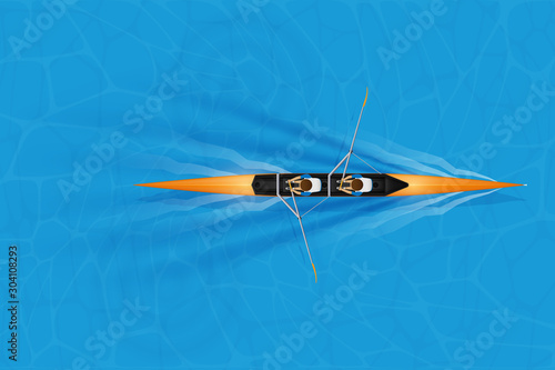 Fotomural Double Racing shell with man paddlers for rowing sport on water surface