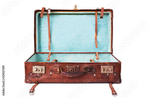Fotografia open and empty suitcase isolated on white background