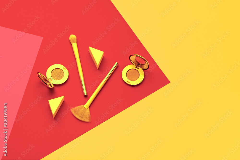 Cosmetic makeup accessories layout. Fashion creative minimal neon Set. Trendy brushes. Art Design Concept, colorful Style. Beauty cosmetic make up tools, fashionable geometry orange flat lay <span>plik: #304197894   autor: evgenij918</span>