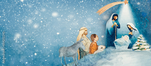 Fotografia, Obraz Nativity scene. Merry Christmas watercolor background.