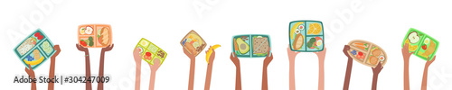 Children hands holding lunch boxes with healthy lunches food banner