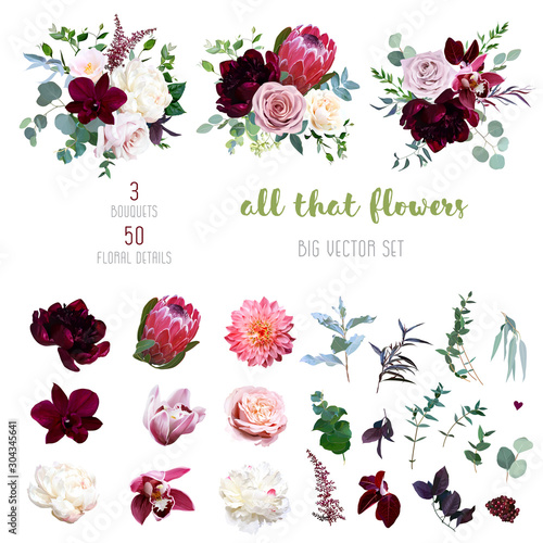 Photo Dusty pink and creamy rose, coral dahlia, burgundy and white peony flowers
