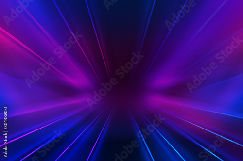 Empty dark abstract background. Background of an empty show scene. Glow of neon lights on an empty stage.