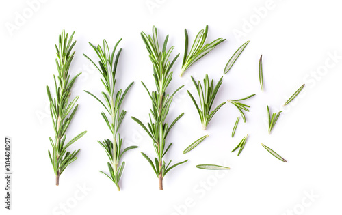 Obraz na plátně Rosemary isolated on white background. Top view.