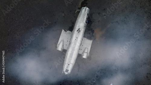 фотография Airplane Wreckage in Solheimasandur Black Beach, aerial view of Iceland