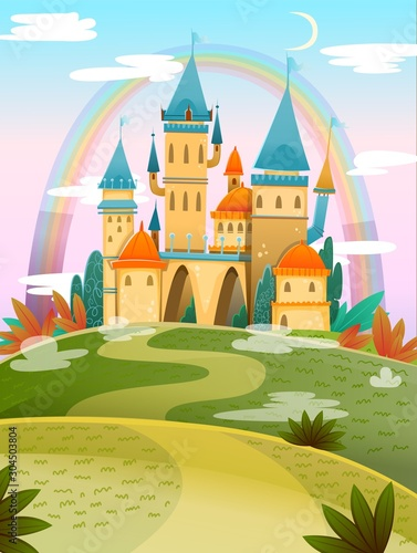 Zamek kreskówka. Zamek z bajki. Fantasy bajkowy pałac z tęczą. Ilustracji wektorowych