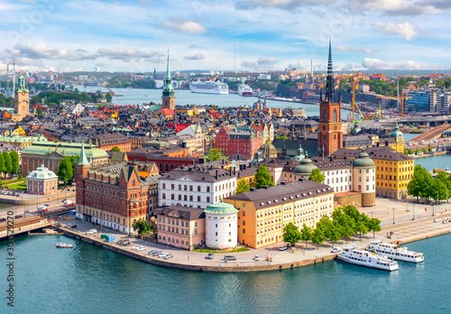 Canvas Print Stockholm old town (Gamla Stan) cityscape from City Hall top, Sweden