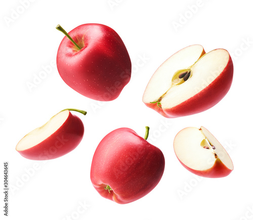 Fotografiet Set of red apple isolated on white background