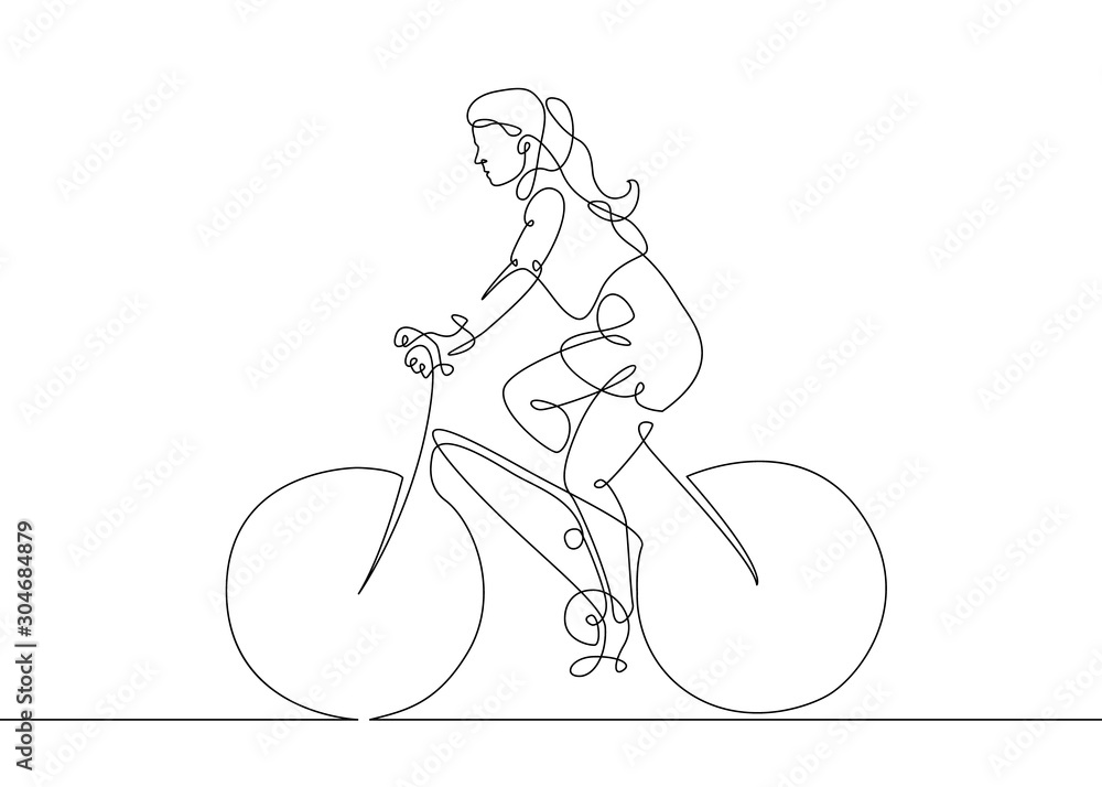 continuous line drawing woman girl on a bicycle <span>plik: #304684879 | autor: derplan13</span>