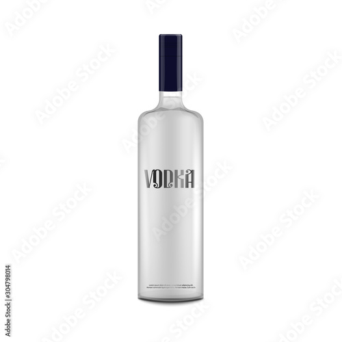 Obraz na płótnie Isolated vodka bottle mockup with text label - alcohol drink packaging template