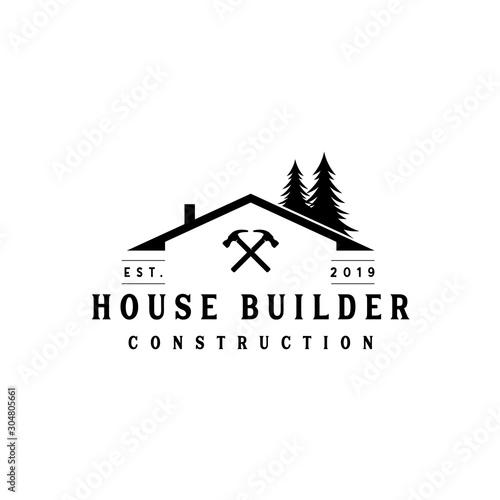 Fotografia, Obraz Clean vintage house builder logo template - vector