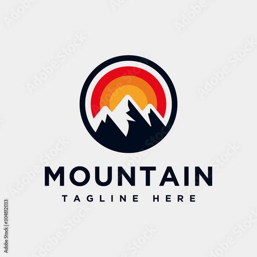 Mountain logo design inspiration, Mountain illustration, outdoor adventure Poster Mural XXL