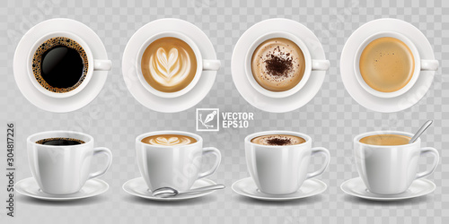 Fototapeta 3d realistic vector isolated white cups of coffee with spoon, top and side view,
