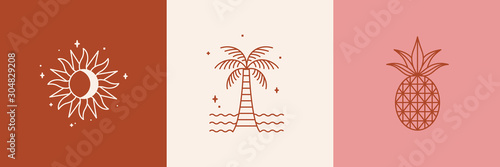 Fotografia Vector logo design template with palm tree and sun