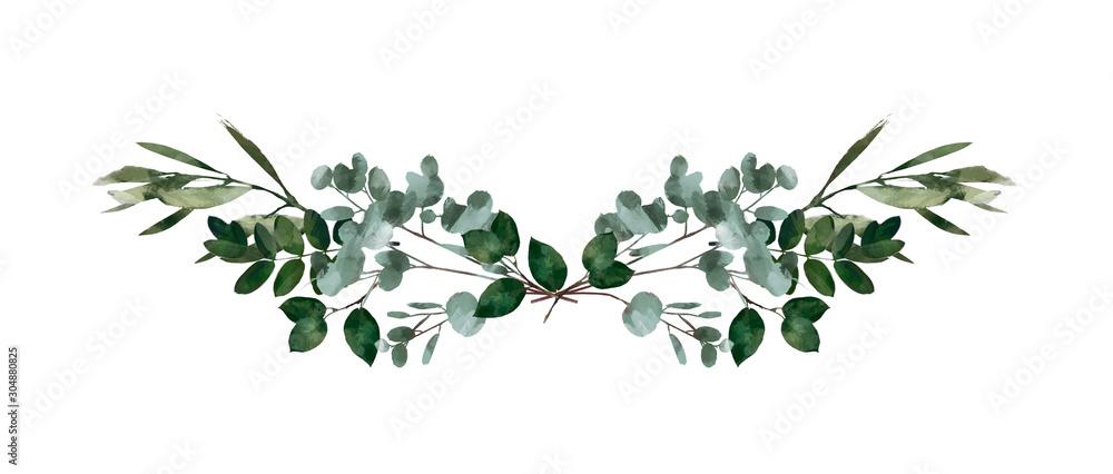 Akwarela nowoczesny element dekoracyjny. Eukaliptus okrągły zielony liść wieniec, gałęzie zieleni, girlanda, obramowanie, rama, elegancka akwarela na białym tle, dobre na zaproszenie na ślub, kartka lub wydruk <span>plik: #304880825 | autor: Bonnie Cocos</span>