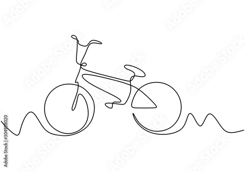 Continuous one line drawing of bike or bicycle vector minimalism design.