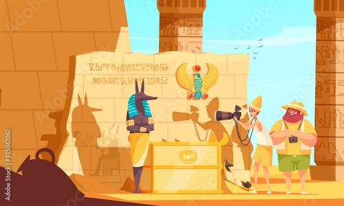 Canvas Egypt Travel Cartoon Composition