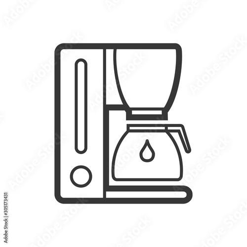 Canvas Print Coffee maker outline single isolated vector icon