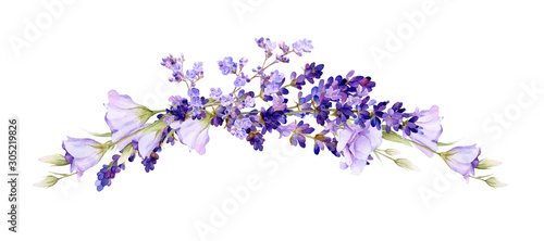 Canvas-taulu Picturesque arrangement of lavender and bluebells hand drawn in watercolor isolated on a white background