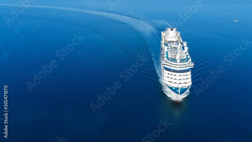 Fotografie, Obraz Aerial view of beautiful white cruise ship above luxury cruise in the ocean sea  concept tourism travel on holiday take a vacation time on summer