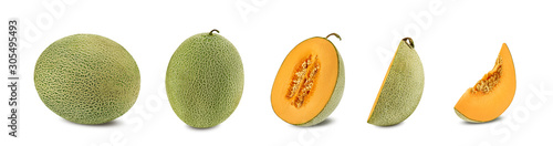 Photo Set of some sugary cantaloupe melons in a cross-section, isolated on white background with copy space for text or images