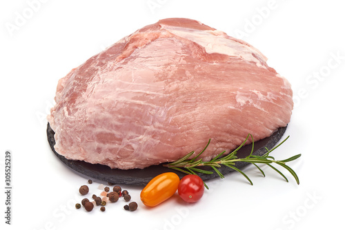 Slika na platnu Pork Raw Gammon Steak, ham cuts, isolated on white background