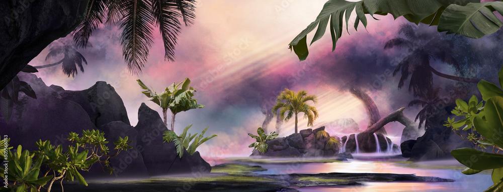 Piękny marzycielski krajobraz laguny o zachodzie słońca z palmami i tropikalnymi liśćmi, może służyć jako tło lub tapeta <span>plik: #305566053   autor: Kanea</span>