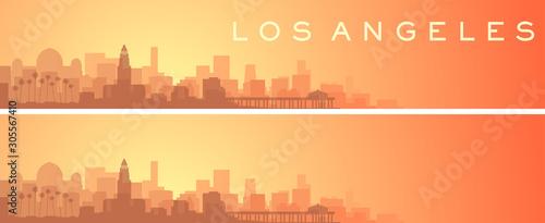 Fotografie, Obraz Los Angeles Beautiful Skyline Scenery Banner