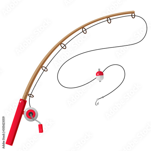 Cuadros en Lienzo Color image of cartoon fishing rod on white background