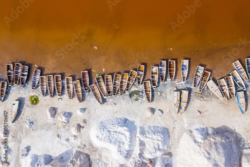 Obraz na płótnie Aerial view of the Pink Lake Retba or Lac Rose in Senegal