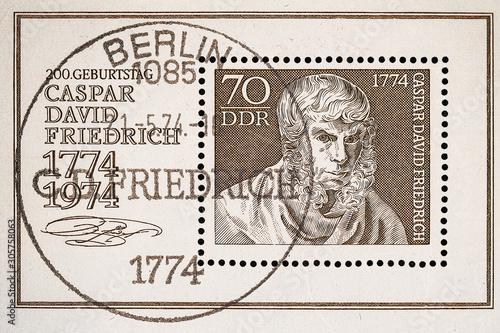 Vászonkép Germany. 1974.Postage stamp shows Caspar David Friedrich