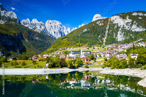 Canvas Print Molveno lake is a beautiful magical place in the Italian Alps