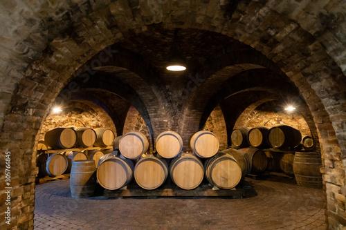 Fotografie, Tablou wine barrels in the cellar, Szekszard, Hungary