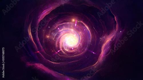 Fotografia image of spiral nebula and light in red-violet tones