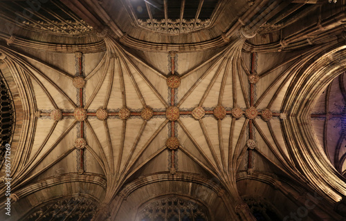 Canvas Print Lichfield cathedral, medieval vault ceiling